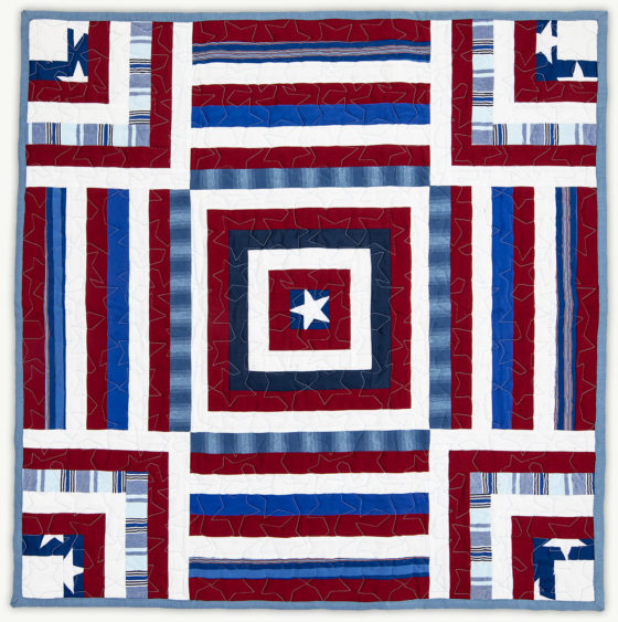 'James' Stars and Stripes', a memorial quilt designed by Lori Mason