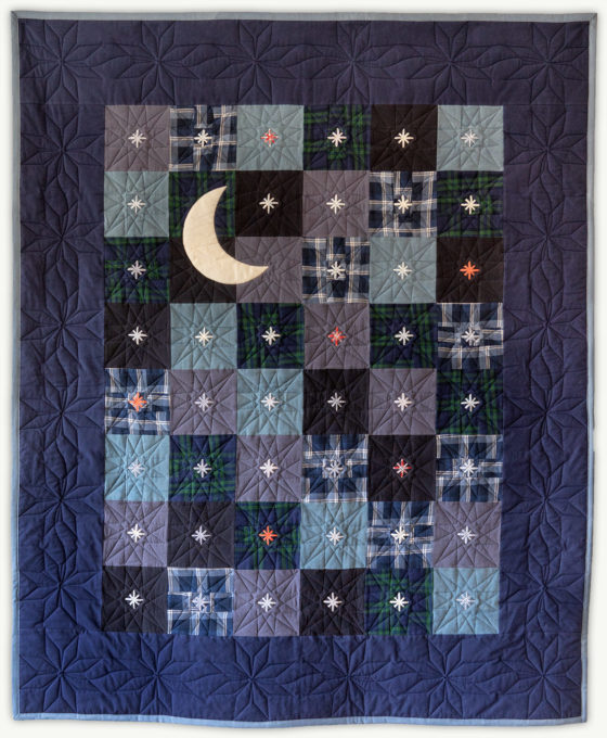 'Fly Me to the Moon', a memorial quilt designed by Lori Mason
