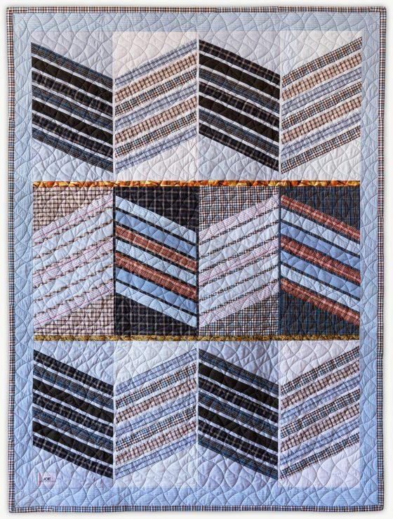 'Joe's Badge 2', a memorial quilt designed by Lori Mason